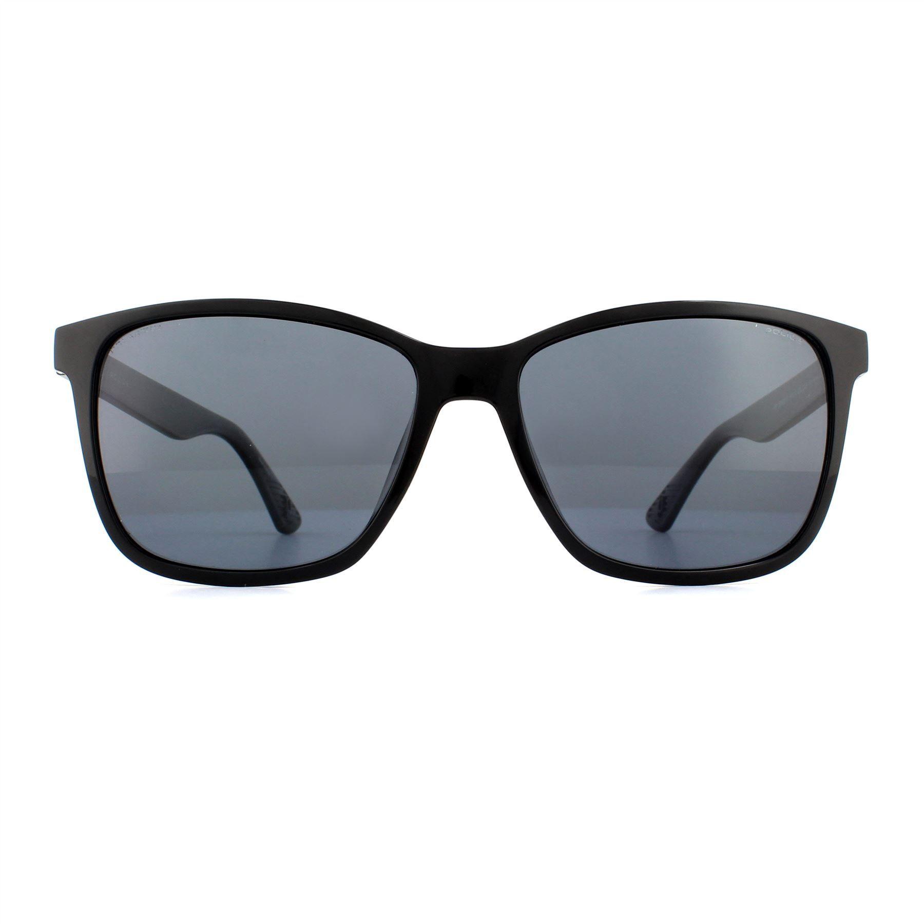 Police Sunglasses SPL861B Z42P Shiny Black Grey Polarized