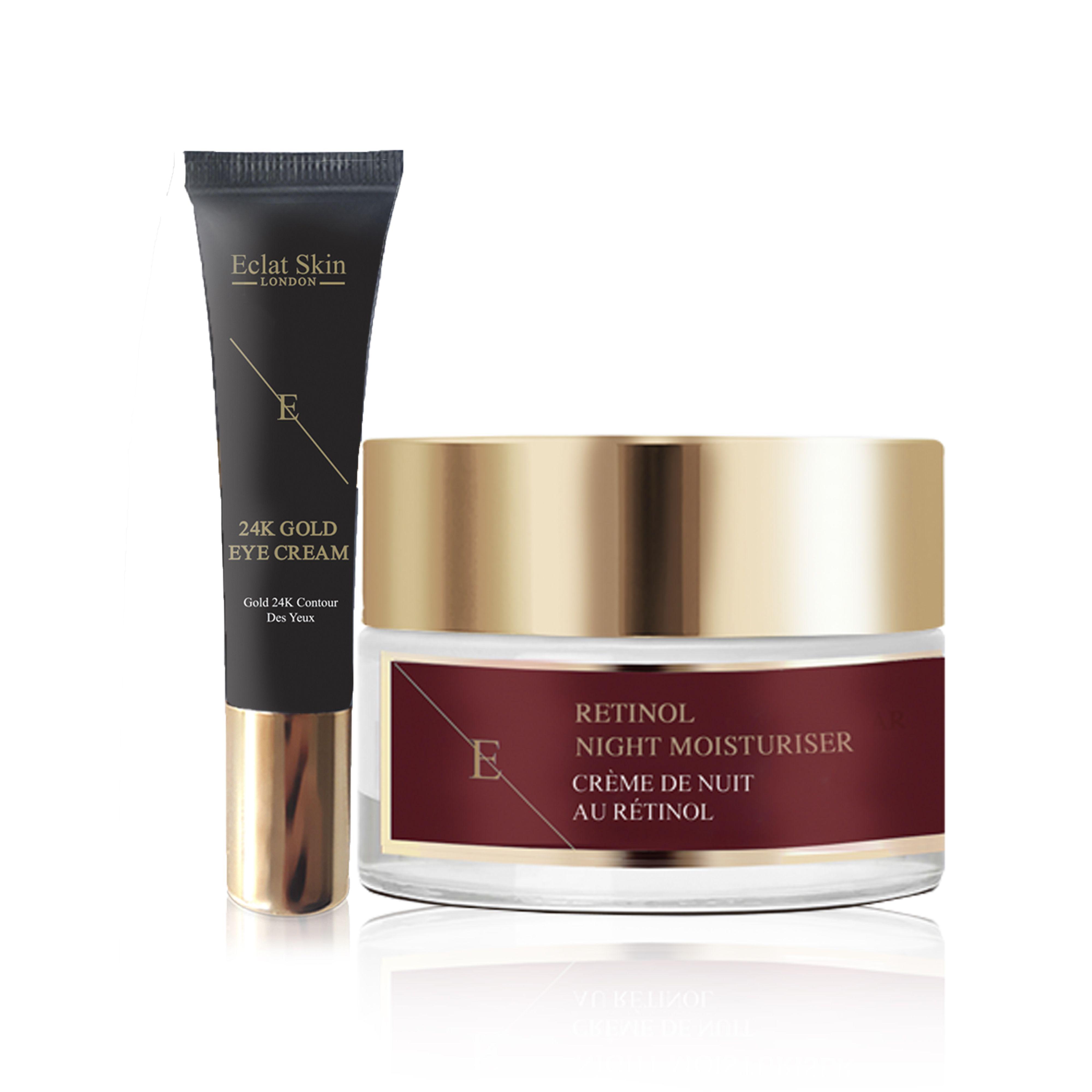 Retinol + Caviar Moisturiser 50ml + Under Eye Cream 24K Gold - 15ml