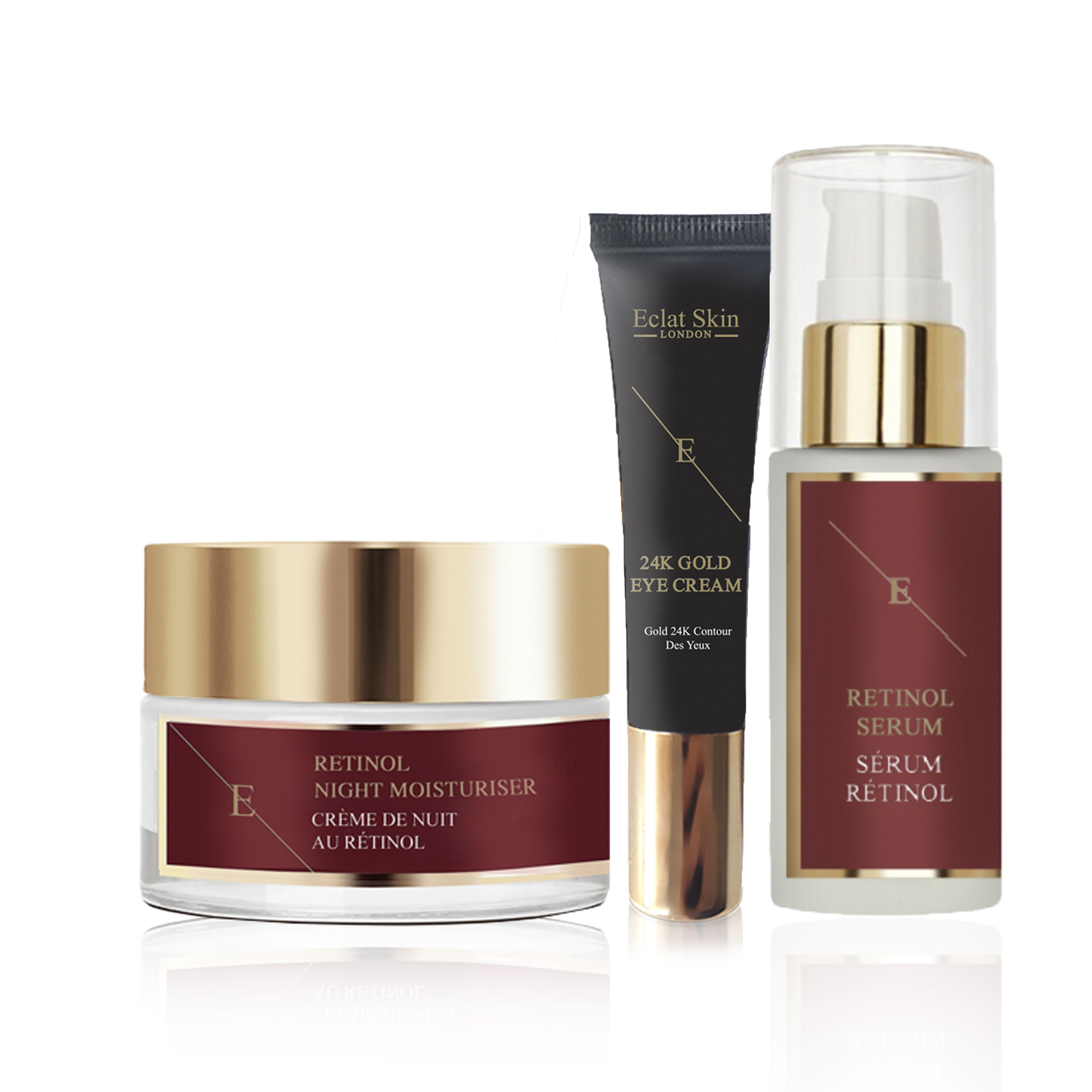 Pro Retinol + Caviar Serum 60ml Retinol + Caviar Moisturiser 50ml + Under Eye Cream 24K Gold - 15ml