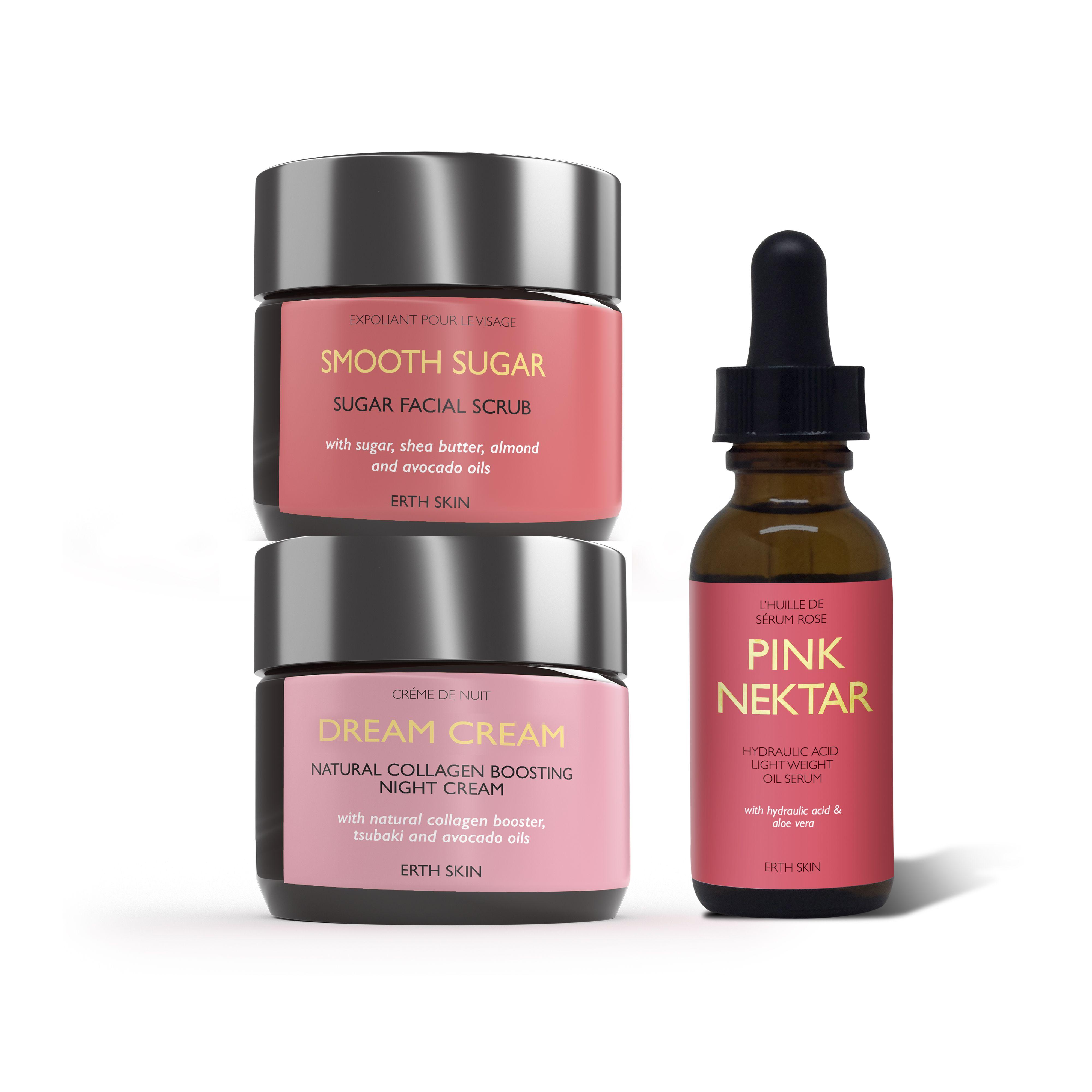 PINK NECTAR - serum +DREAM CREAM - night cream + +SMOOTH SUGAR - sugar scrub