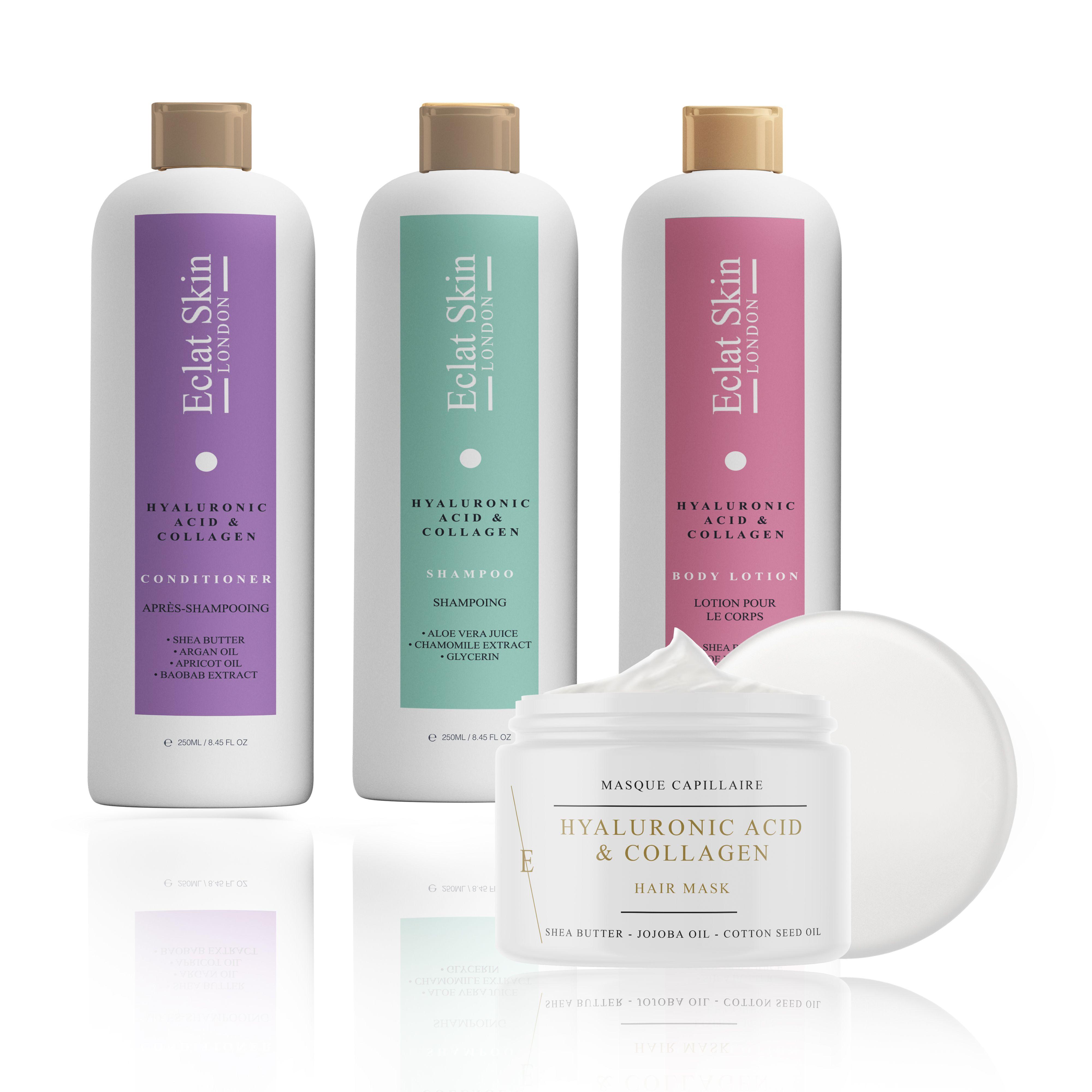 Hyaluronic Acid + Collagen Shampoo 250ml + Hyaluronic Acid + Collagen Conditioner 250ml + Hyaluronic Acid + Collagen Miracle Hair Mask 500ml + Hyaluronic Acid + Collagen Body Lotion 250ml