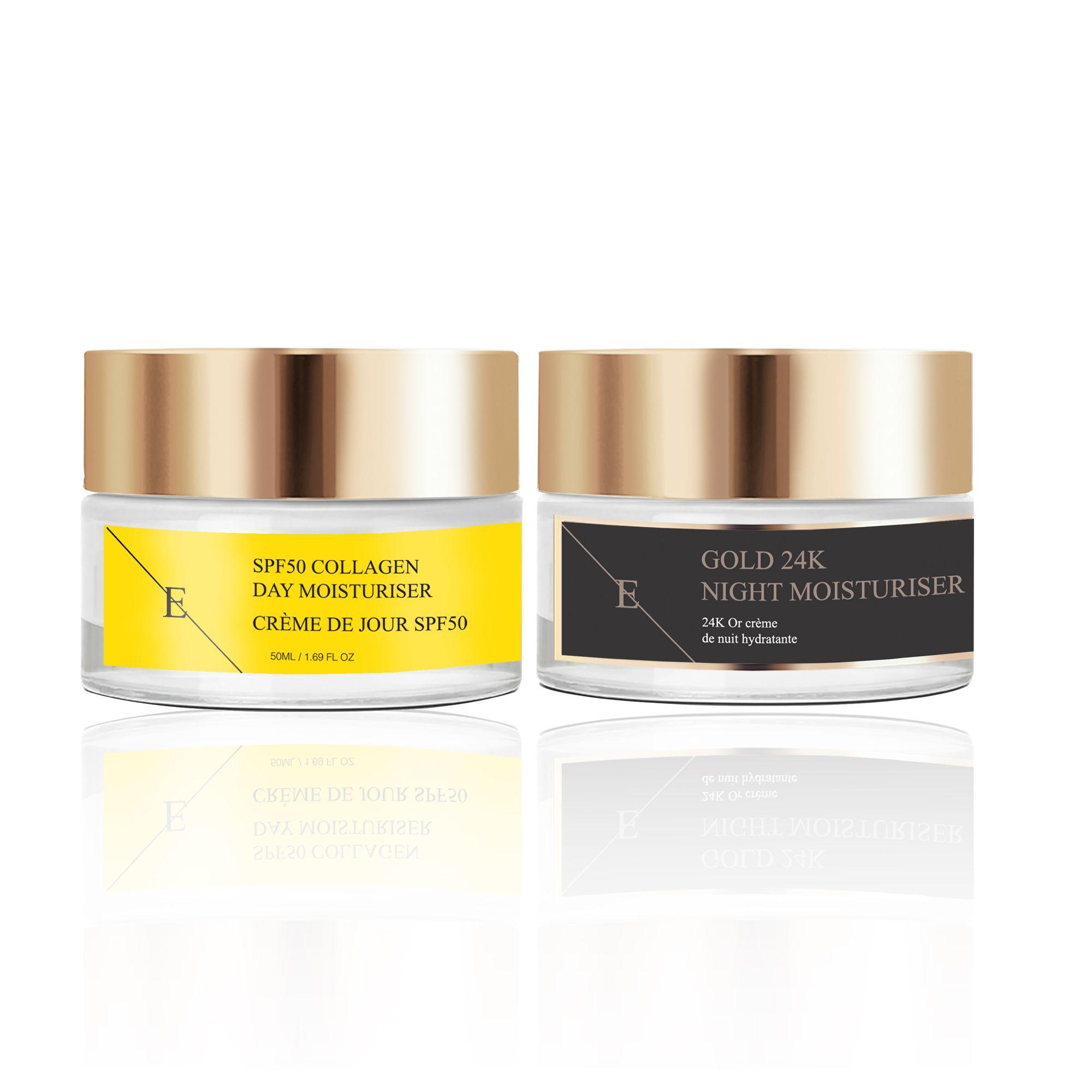 SPF50 Collagen Day Cream 50ml + Anti-Wrinkle Night Moisturiser 24K Gold - 50ml