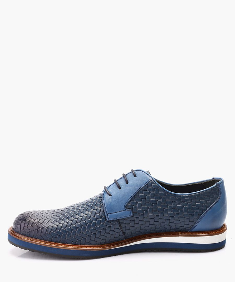 Blue leather Derby shoes