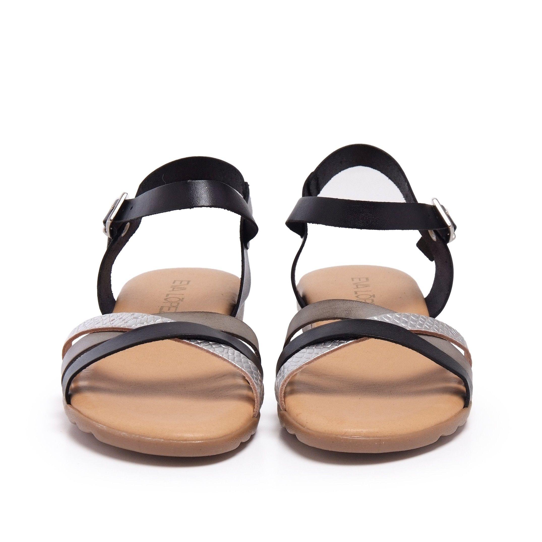 Black Coffee Leather Sandals Flip Flop Women Eva Lopez