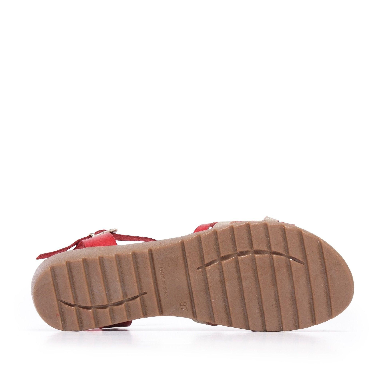 Red Leather Sandals Flip Flop Women Eva Lopez