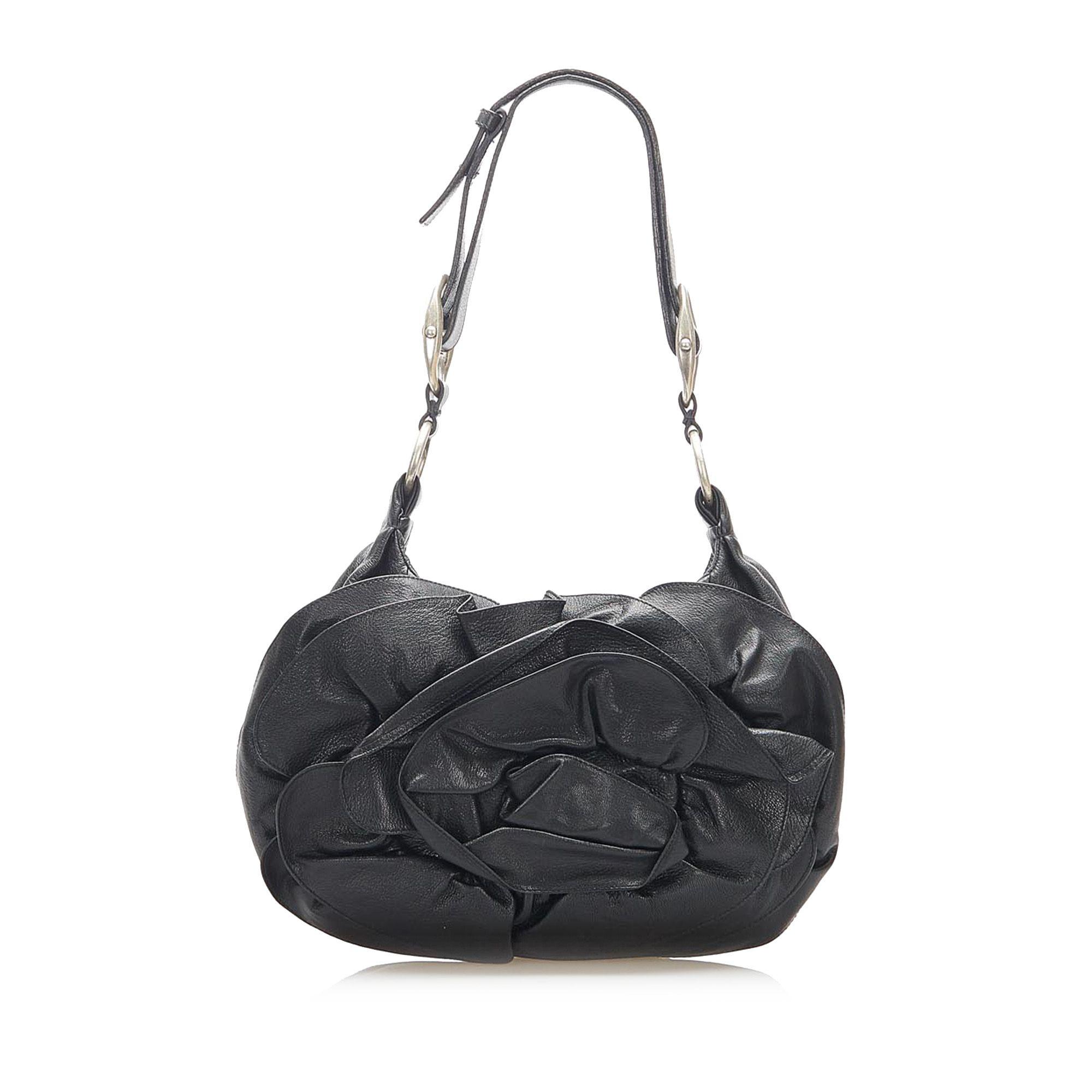 Vintage YSL Nadia Leather Shoulder Bag Black