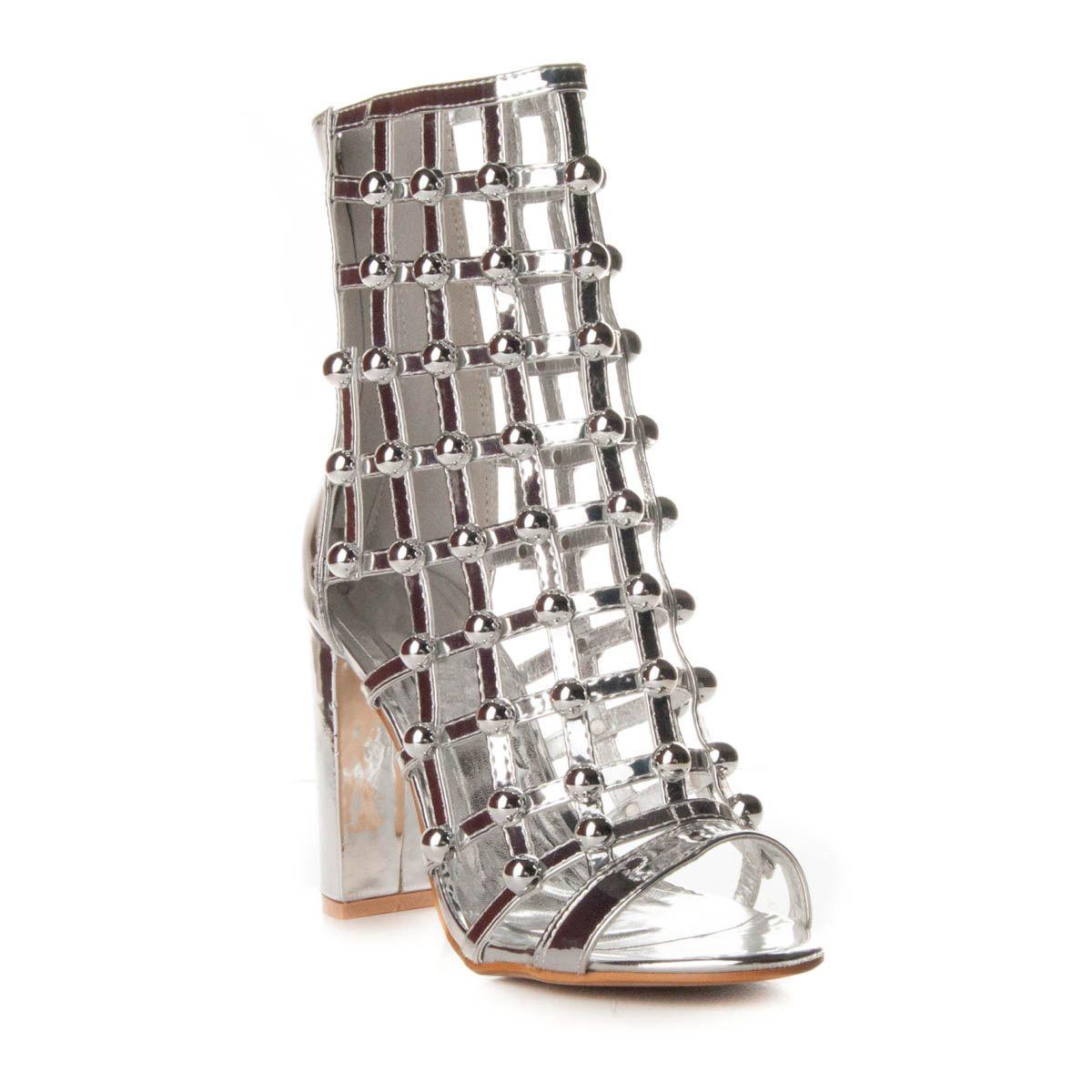 Montevita Block Heel Sandal in Silver