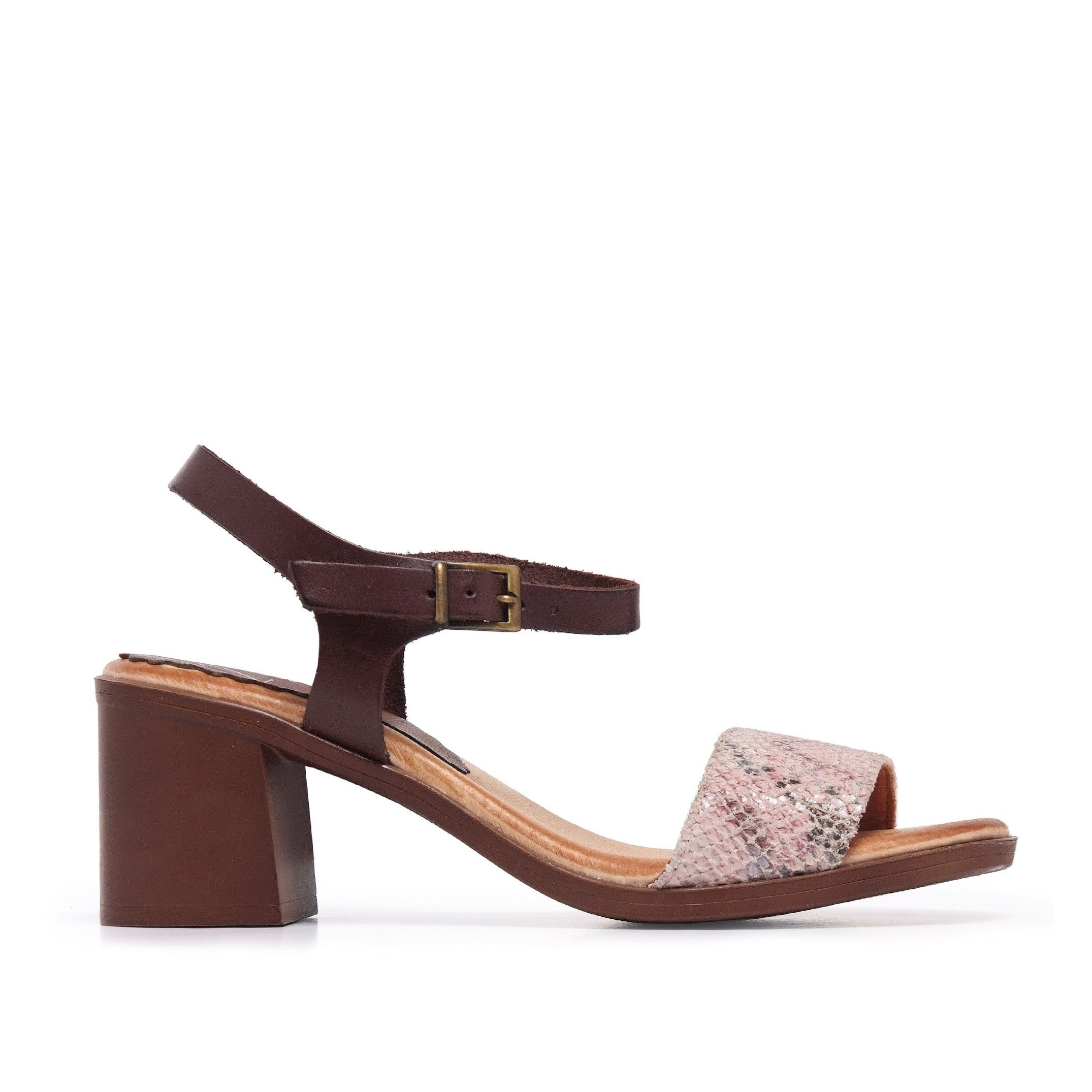 Leather Peep Toe Women Pink Sandals Eva López