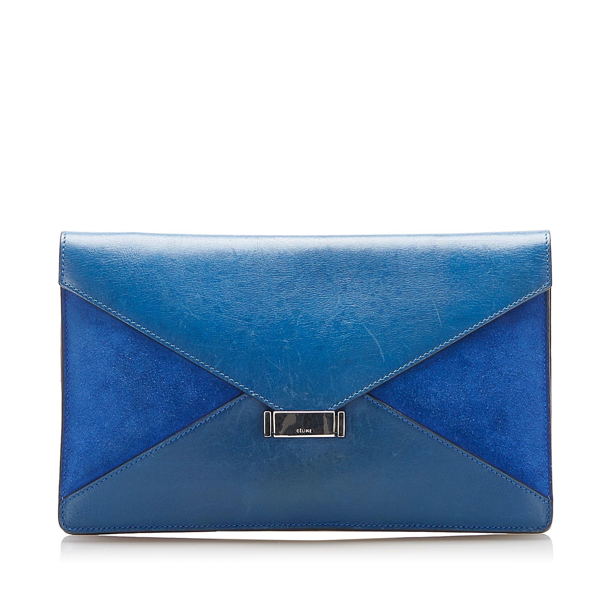 Vintage Celine Diamond Leather Clutch Bag Blue