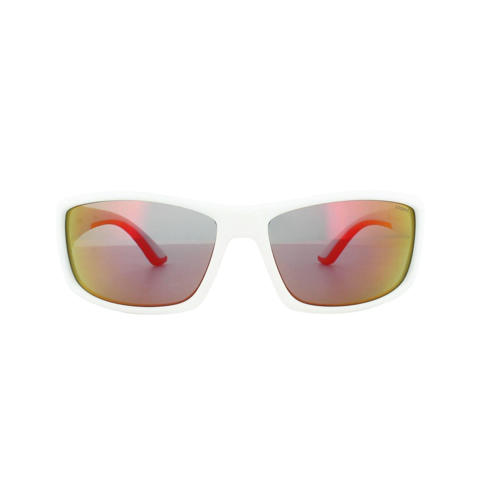 Polaroid Sport Sunglasses PLD 7011/S IXN OZ White Orange Red Mirror Polarized