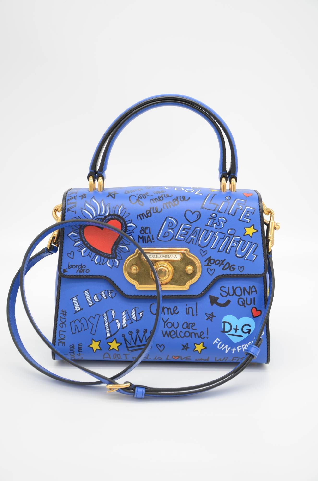 Dolce & Gabbana Women Graffiti Leather Top Handle Bag