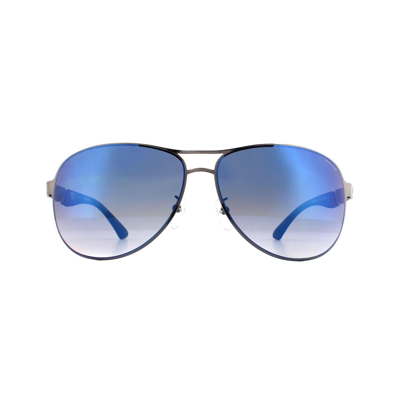 Police Sunglasses SPL534G 568B Shiny Ruthenium Blue Gradient