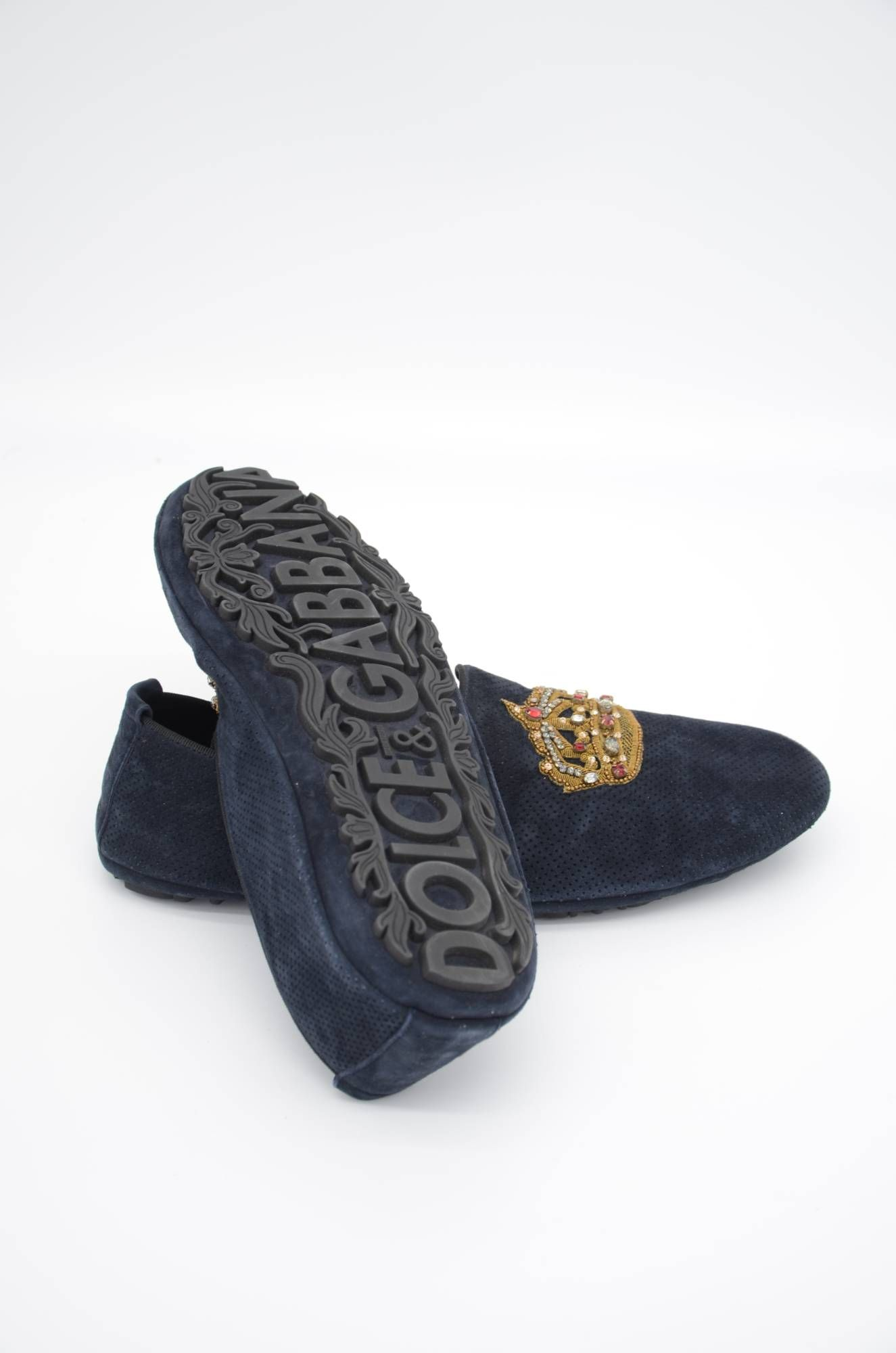 Dolce & Gabbana Men Crown Leather Loafers
