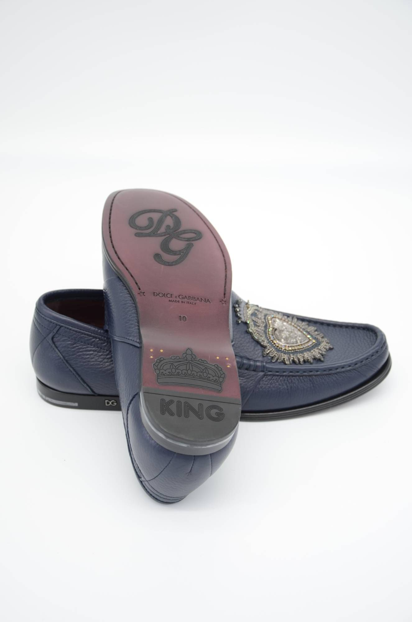 Dolce & Gabbana Men Heart Leather Loafers