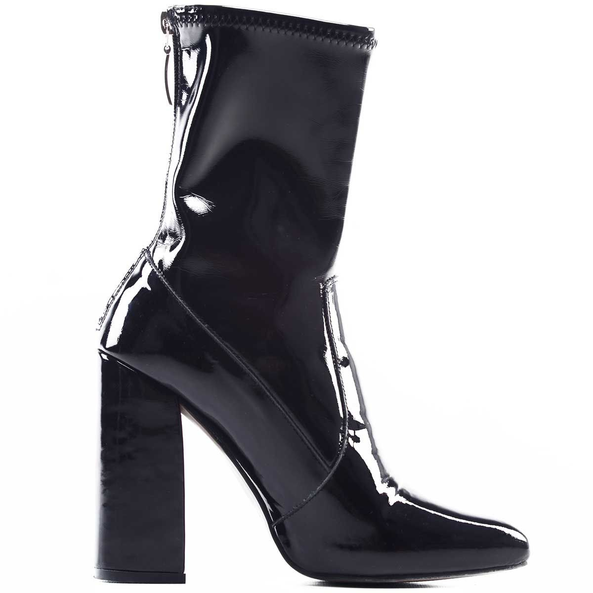 Montevita Patent Heeled Ankle Boot in Black