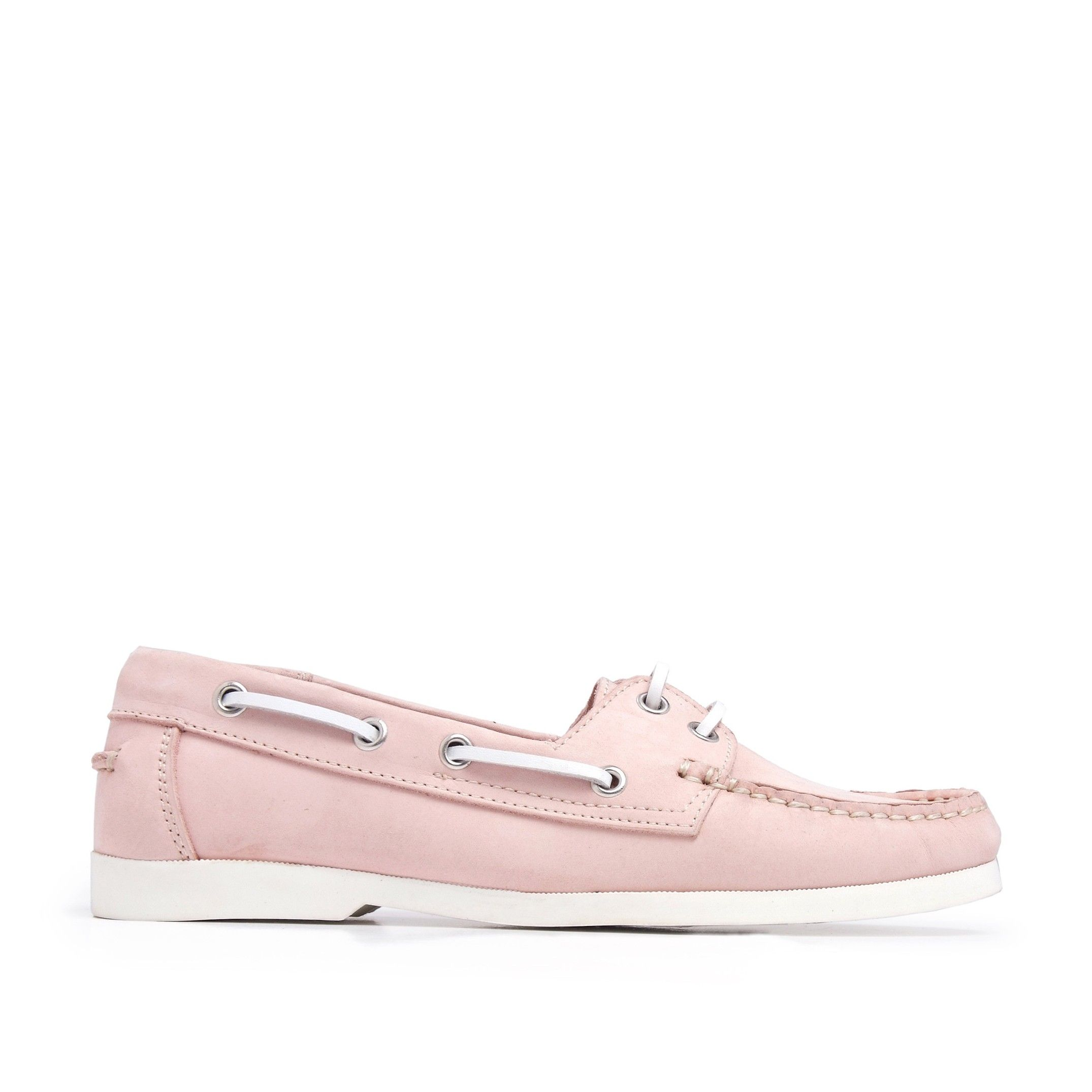 Leather Boat Shoes for Women Laces Pink Castellanisimos