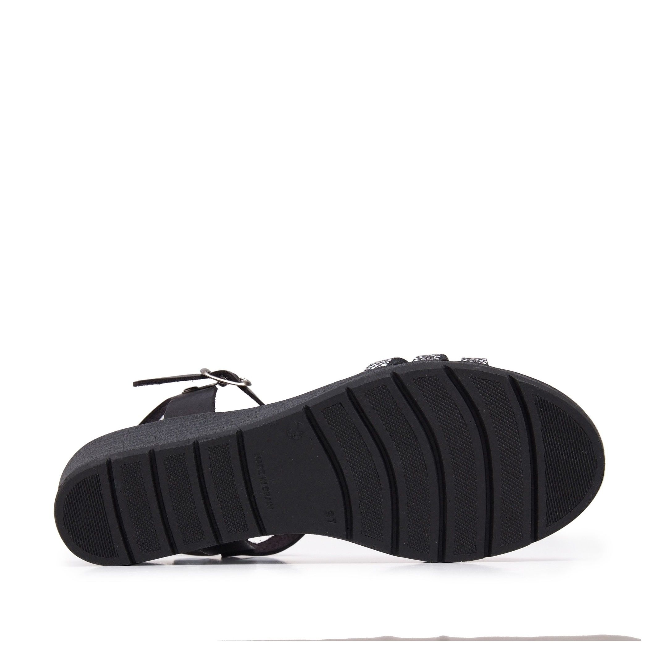 Women's Wedge Leather Sandals in Black