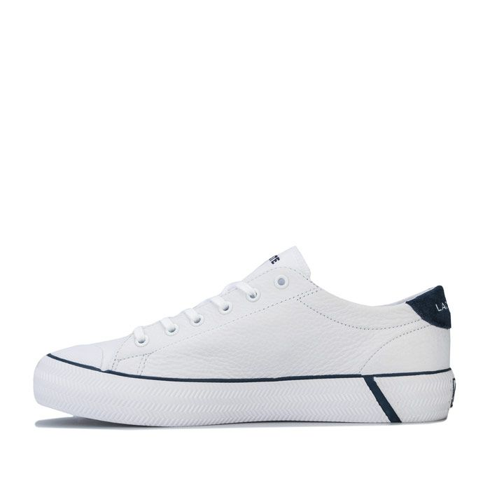 Women's Lacoste Gripshot Leather Trainers in White Navy