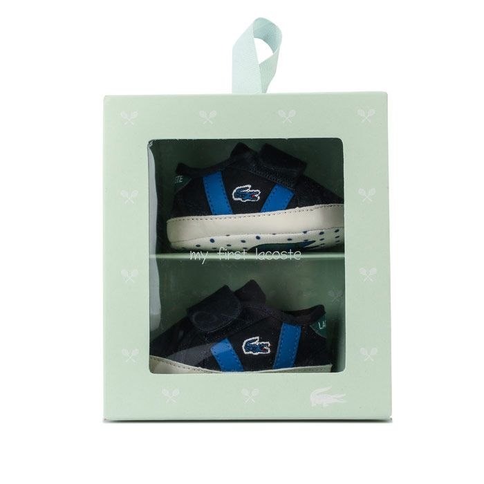Boys' Lacoste Baby Sideline Crib Trainers in navy green