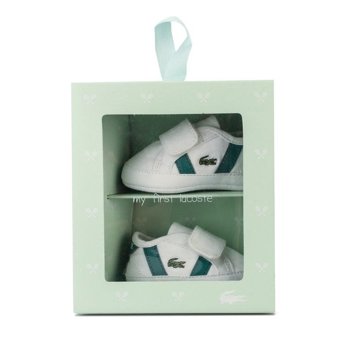 Boys' Lacoste Baby Sideline Crib Trainers in White Green