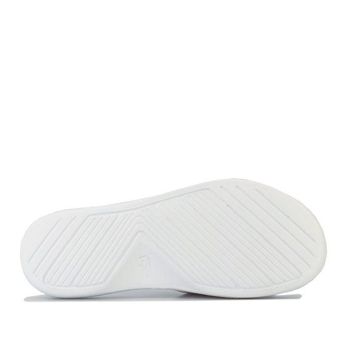 Boys' Lacoste Children L.30 Slide Sandal in White Green