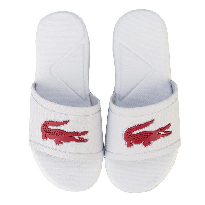 Girls' Lacoste Children L.30 Slide Sandal in White pink