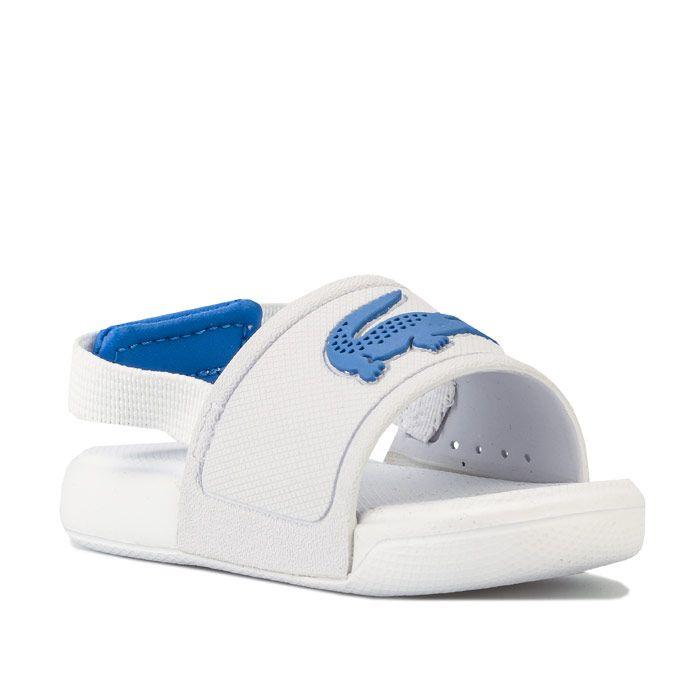Boys' Lacoste Infant L.30 Strap Sandal in White blue