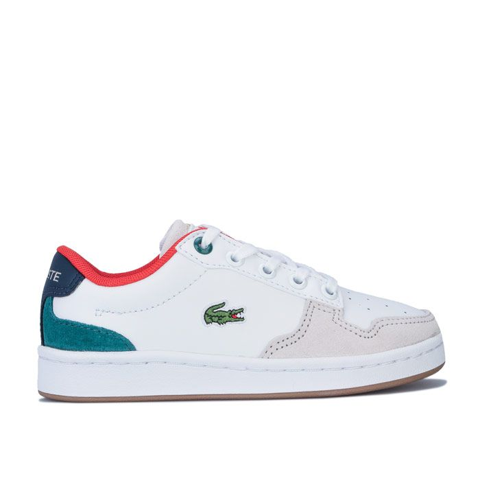 Boy's Lacoste Children Masters Cup 120 Trainers in White Green