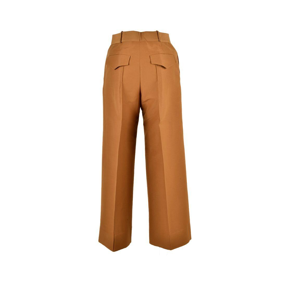 VICTORIA BECKHAM WOMEN'S 2220WTR000956ACAMEL BROWN COTTON PANTS