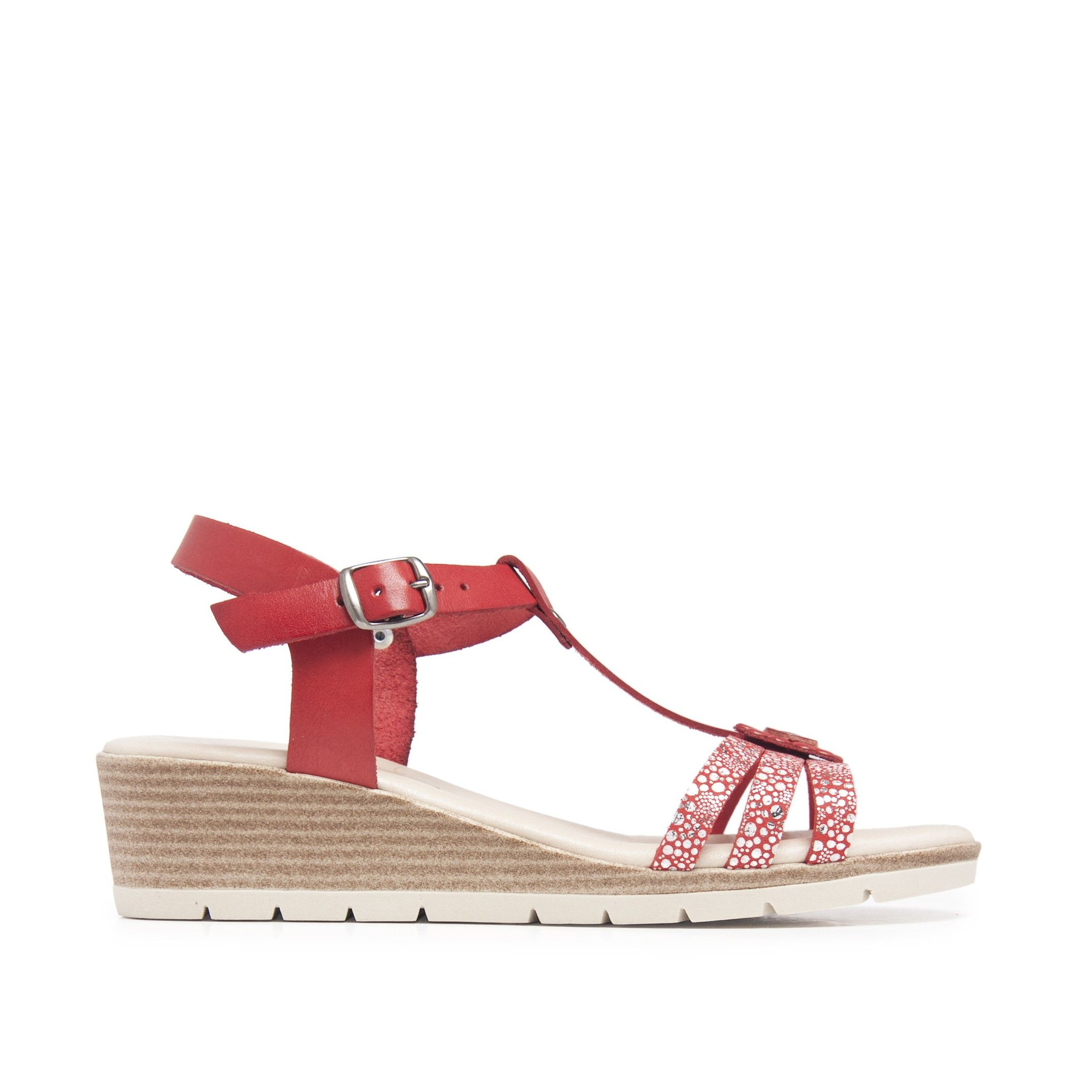 Wedge Leather Sandals Red Women Summer Castellanisimos