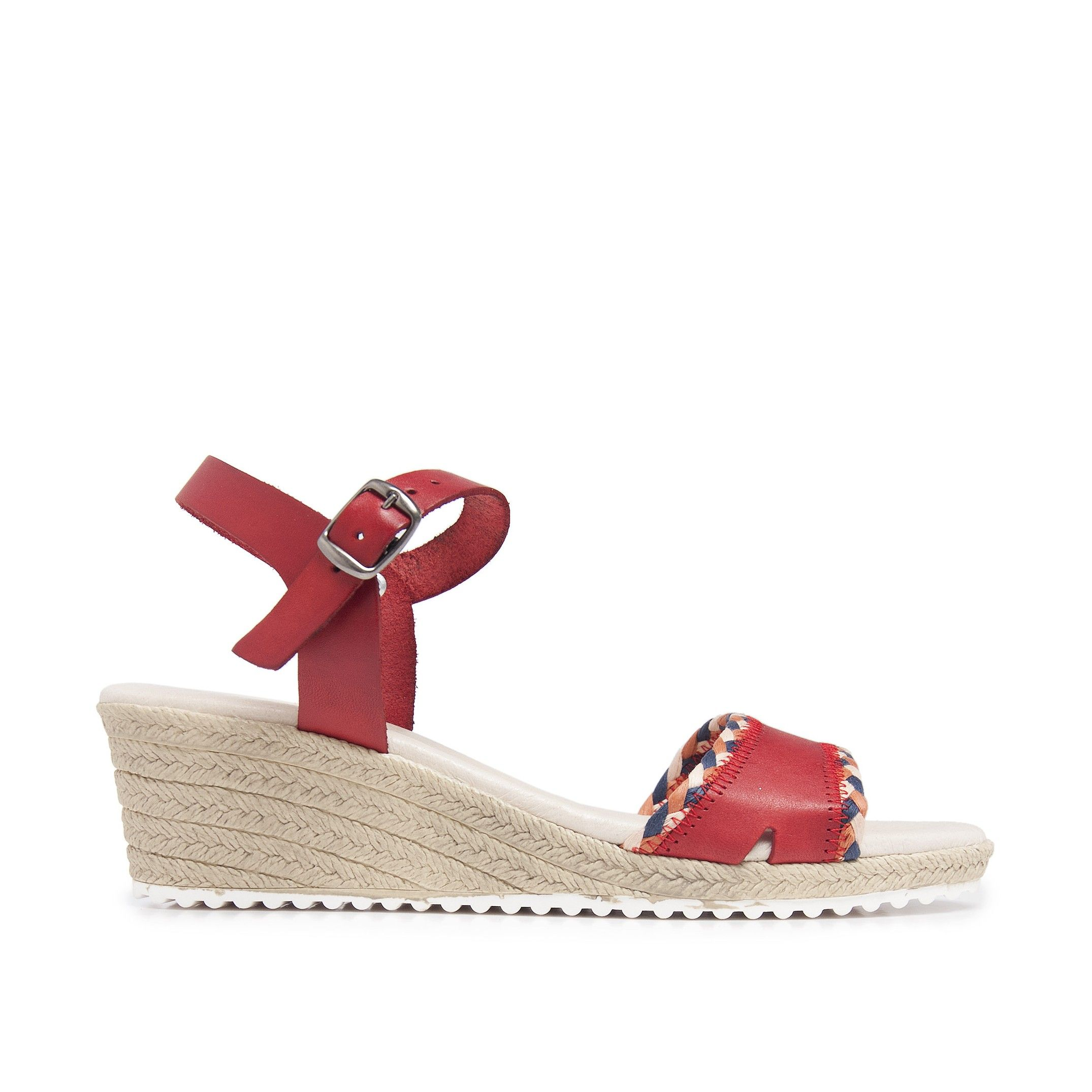 Wedge Leather Sandals Rosso Women Summer Castellanisimos