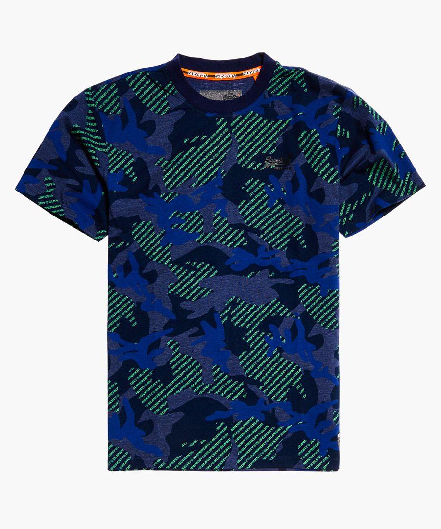 Orange Label blue cotton blend urban printed boxy T-shirt