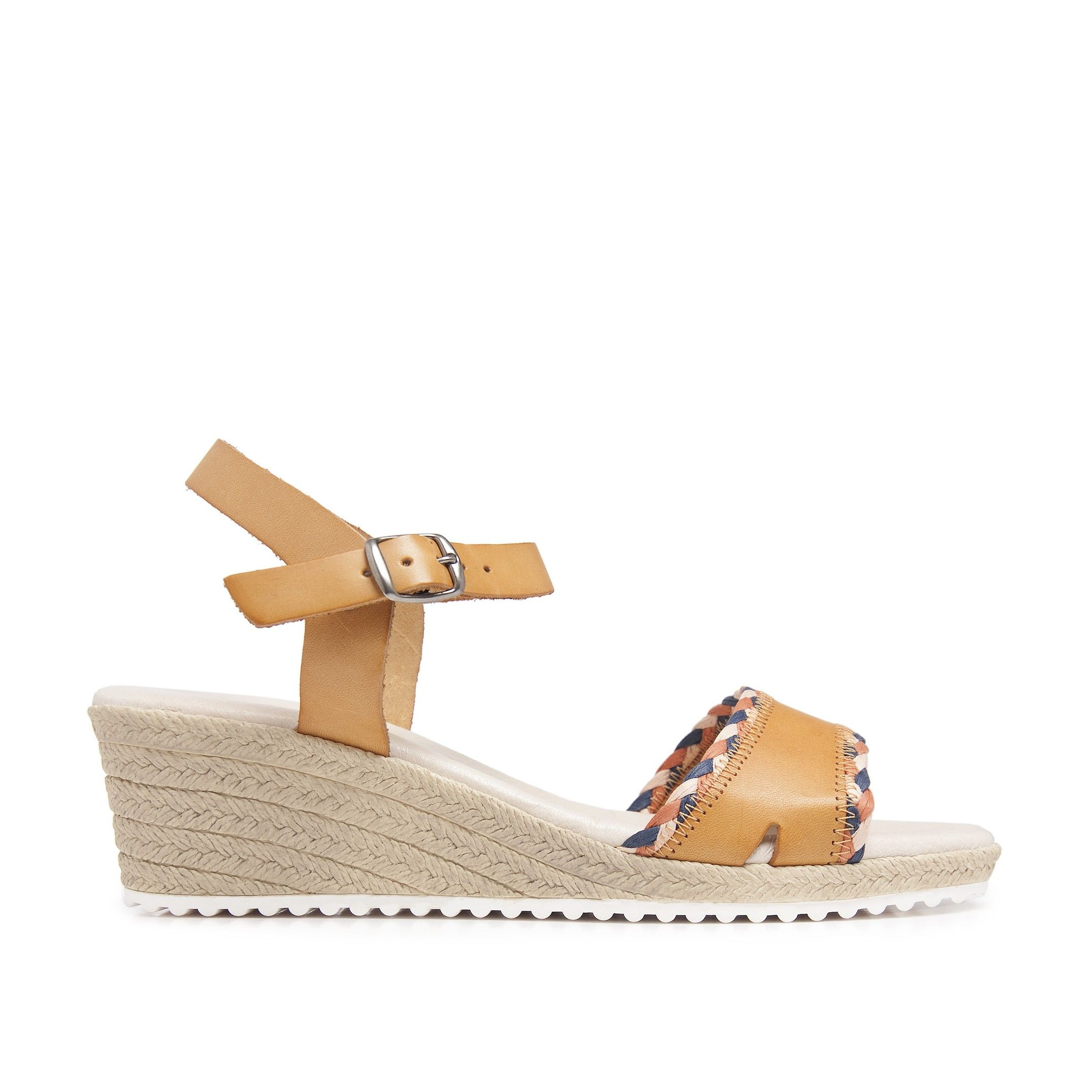Wedge Leather Sandals Yellow Women Summer Castellanisimos
