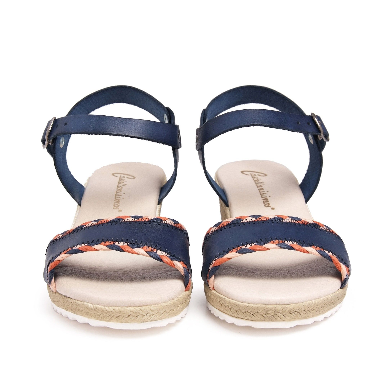 Wedge Leather Sandals Marine Blue Women Summer Castellanisimos