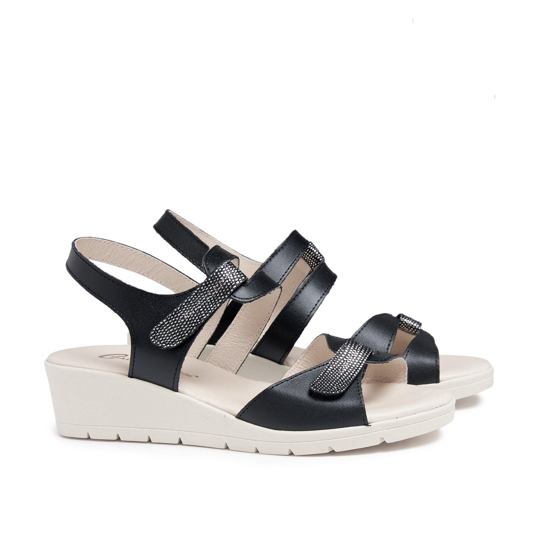 Wedge Leather Sandals Black Women Summer Castellanisimos