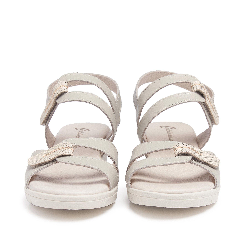 Women's Wedge Leather Sandals in Beige