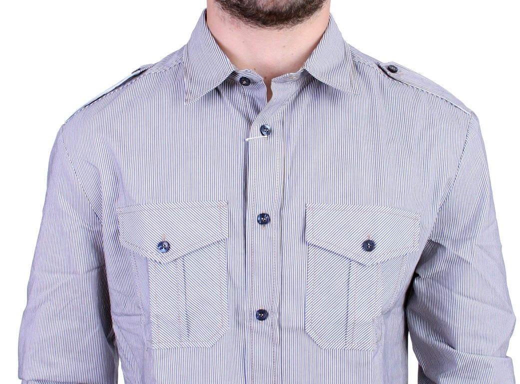 Galliano Blue striped casual shirt