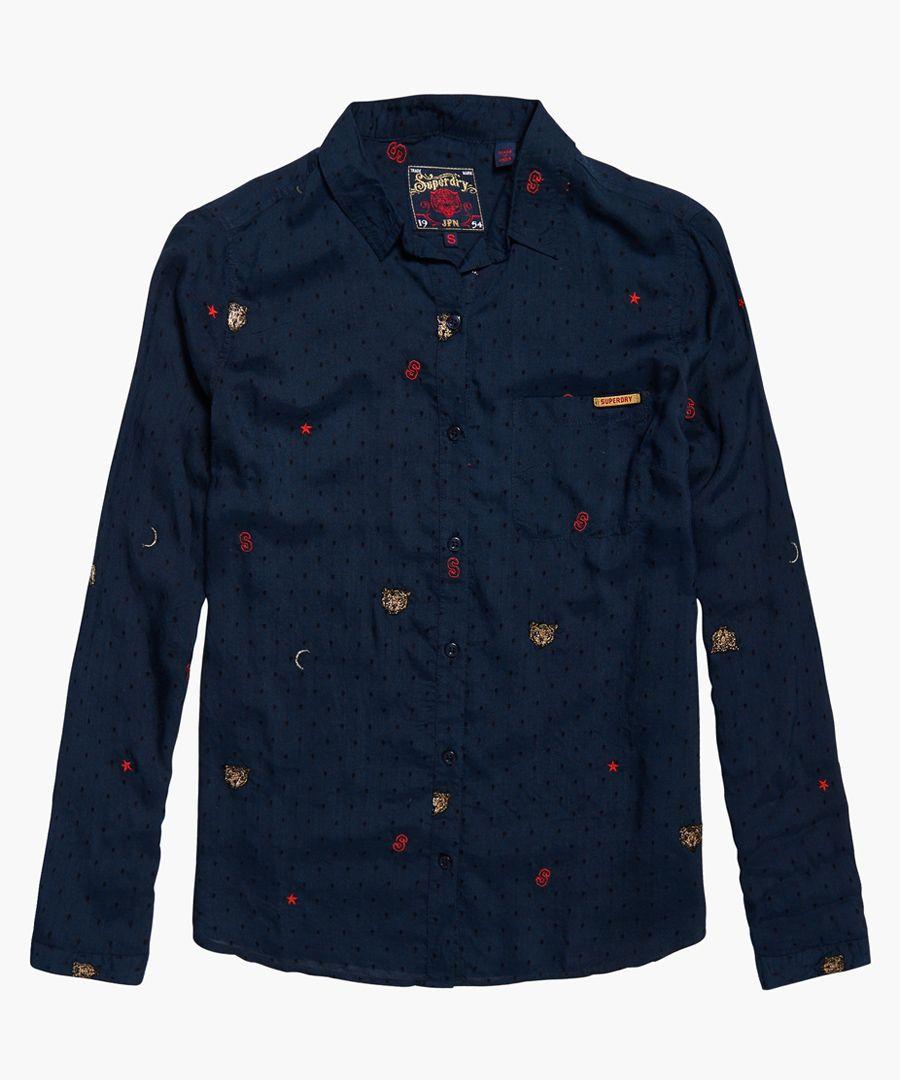 Stevie  Conversational navy blue modal blend shirt
