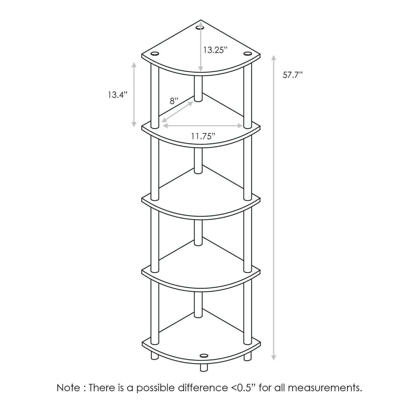 Furinno Turn-N-Tube 5 Tier Corner Display Rack Multipurpose Shelving Unit,Walnut