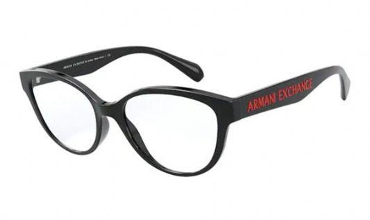 Armani Exchange Rectangular plastic Women Eyeglasses Shiny Black / Clear Lens