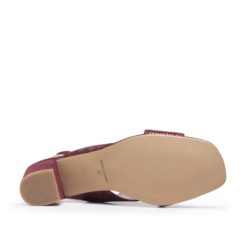 Leather Sandals Heel for Women Heeled Bordeaux Shoes Eva Lopez