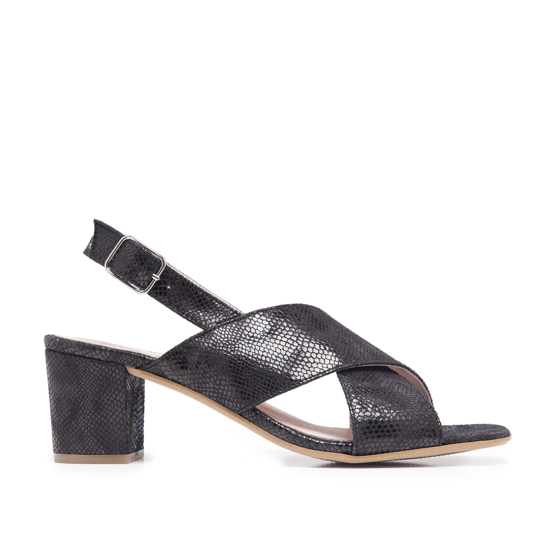 Leather Sandals Heel for Women Heeled Black Shoes Eva Lopez