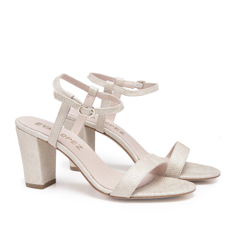 Leather Sandals Heel for Women Heeled Golden Shoes Eva Lopez