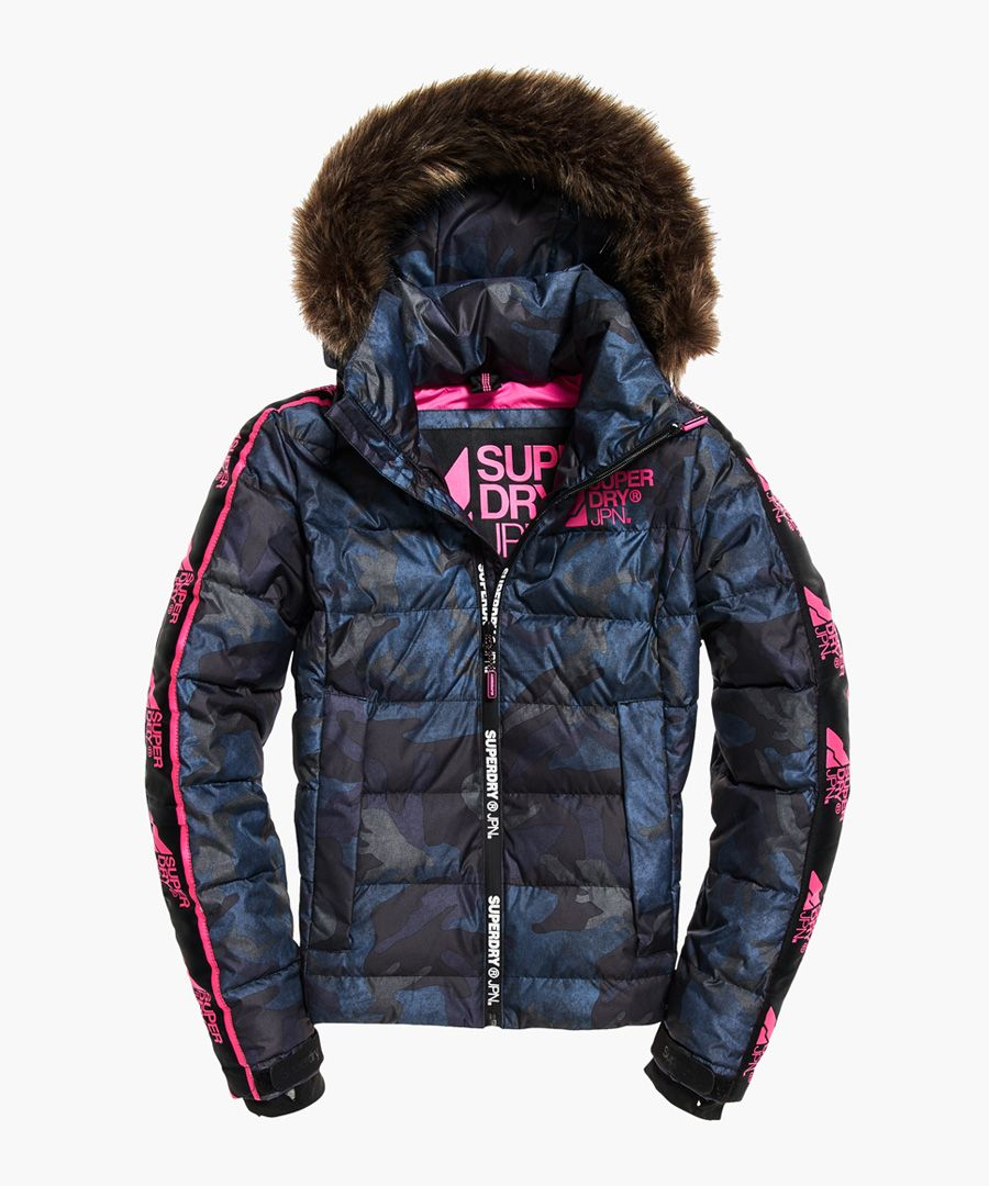 Glacier multi-coloured utility puffer jacket
