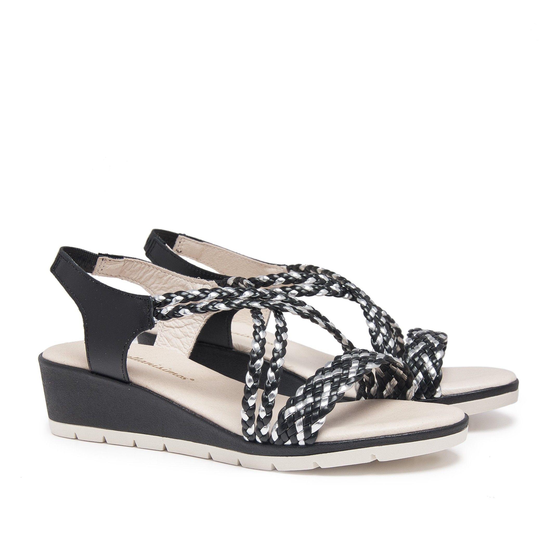 Wedge Leather Sandals Black Women's Summer