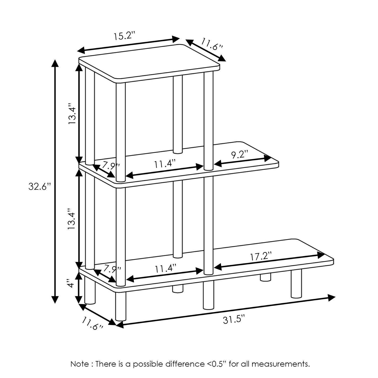 Furinno Turn-N-Tube 3-Tier Sofa Side Table Tall, Espresso/Black