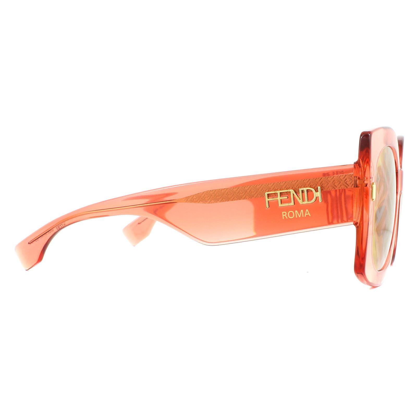 Fendi Sunglasses FF0436/G/S L7Q/BF Transparent Orange Gold Silver Monogram
