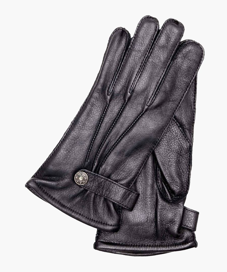 Brown nappa leather and fleece lining gloves
