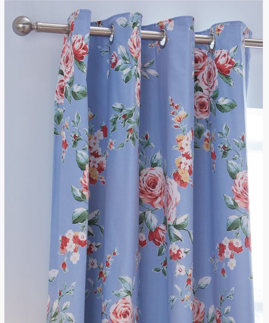 Canterbury blue cotton blend eyelet curtains 168x183cm