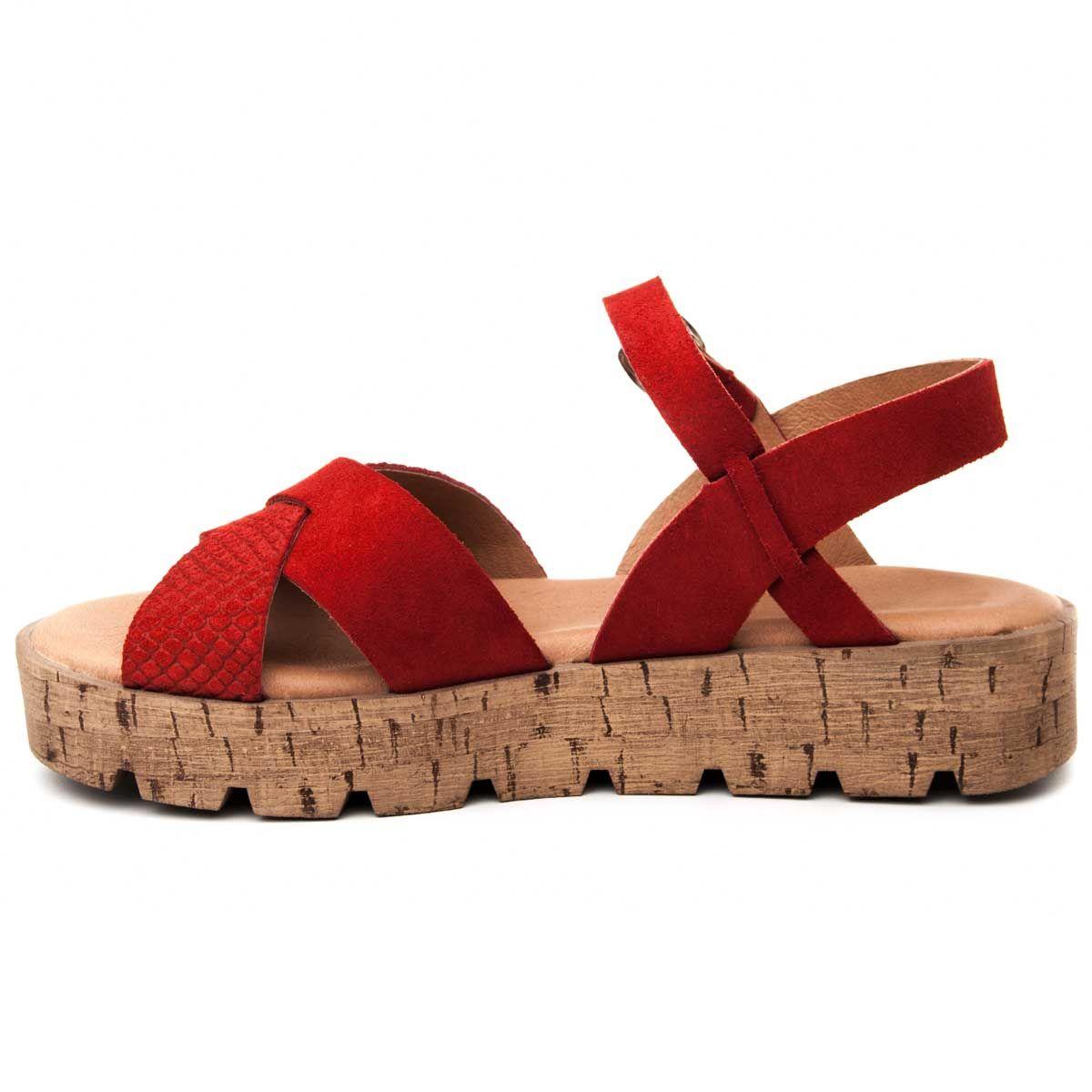 Purapiel Cross Strap Chunky Sandal in Red